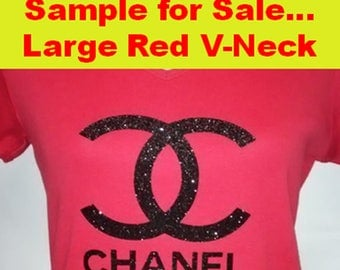 SAMPLE SALE - Chanel Inspired T-Shirt - Chanel Glitter T-Shirt - Chanel Tee - Chanel Tee - Chanel T-Shirt - Chanel Apparel