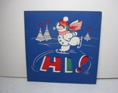 Colorful 1940's die cut White & Wyckoff christmas card snowman ice skating ,decorated christmas trees Hi!