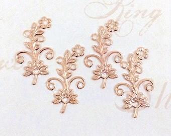 Rose Gold Flower, Brass Flower, Brass Leaf, Brass Stamping, Earring Drop, Right Facing, 38mm x 22mm - 4 pcs. (rg329)