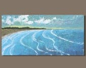 FREE SHIP large abstract painting, beach landscape painting, sunset seascape painting, panoramic painting, beach painting, ocean painting
