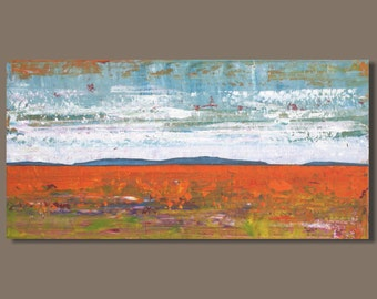 FREE SHIP abstract painting, panoramic painting, red desert, modern art landscape, abstract landscape, small art, small panorama, wall art