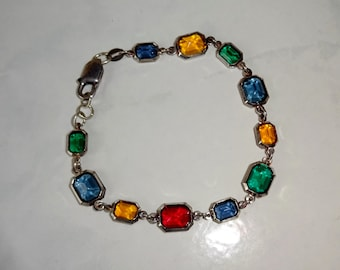 Vintage Crystal Bracelet Sterling Silver Bezel Set Crystals Milor Italy Red Green Blue Gold Purple