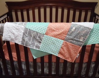 Fox Baby Girl Crib Bedding - Fox, Gray Arrows, Coral Weathervanes, and Mint Crib Bedding Ensemble with Blanket or Patchwork Blanket