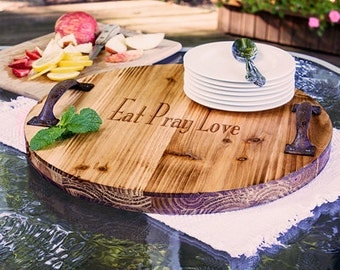 Personalized Any Message Rustic Wood Serving Tray