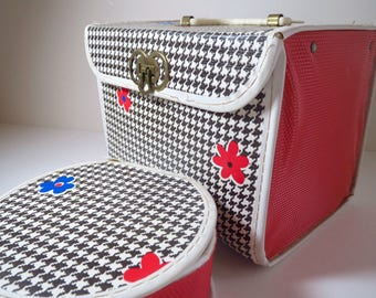 Vintage 1960s Retro Groovy Flower Power Houndstooth Baby Doll Totes Luggage 2pcs
