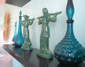 Vintage 1950s MID Century Asian Modern Gonder Ceramic Arts Pottery Green Statues