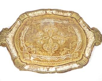 Vintage Florentine Style Serving Tray - White Gold Florentine Tray