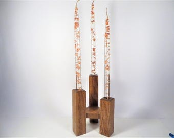 Mid Century Lucite Glitter Candlesticks and Wood Candle Holder -   Three Coppery Gold Glitter Decorative Candles