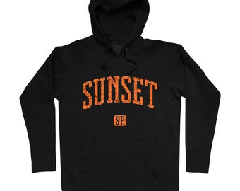 Sunset San Francisco Hoodie - Men S M L XL 2x 3x - Gift for Men, Her, Sweatshirt, Sunset District Hoody, Neighborhood,415, Bay Area, SFO