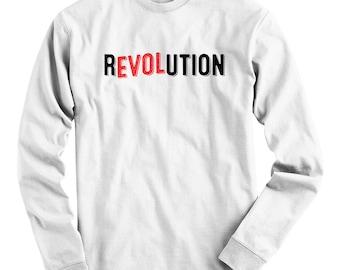 LS Love Revolution Tee - Long Sleeve T-shirt - Men S M L XL 2x 3x 4x - Revolucion Shirt, Revolt Shirt, Resist Shirt, Protester Tee, Protest