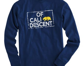 LS Of California Descent Tee - Long Sleeve T-shirt - Men S M L XL 2x 3x 4x - Cali Shirt, LA Shirt, San Diego Shirt, San Jose, San Francisco
