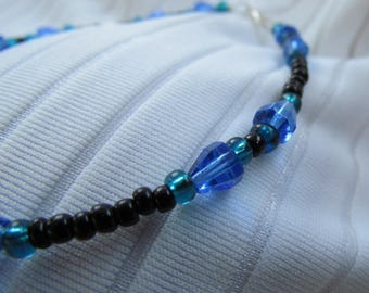 Sapphire Blue, Blackest Black, Silver Teal Blue Green Glass Bead Anklet