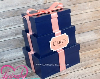 Card Holder 3 Tier Box | Gift Money Box with Card Sign in Navy & Coral | Wedding | Graduation | Additional Colors Available