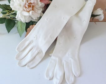 Vintage Gloves Long White Embroidered Gloves Past the Wrist Eyelet look gloves Dress Gloves Formal Evening
