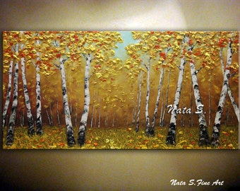 "Birch Tree Painting Original Landscape Fall Colors Abstract Textured Artwork Tree Paintings Palette Knife Large Artwork 24"" x 48"" by Nata"