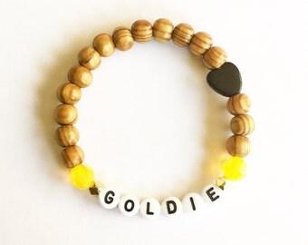 Custom Beachy Wood Name Bracelet with Swarovski Crystals & Black Horn Heart