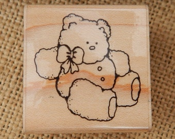 Teddy Bear Rubber Stamp by D.O.T.S.  ~  D.O.T.S.  E312 Little Bear Rubber Stamp