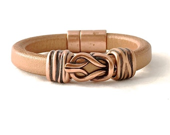 Copper Leather Bracelet - Copper Jewelry - Leather Bracelet Men - Womens Leather Cuff  - Boho Bracelet - Leather Accessories