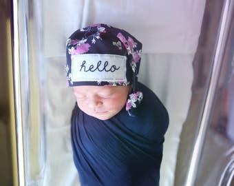 Hello baby girl - newborn personalized hat - coming home outfit - baby girl - personalize baby gift - baby girl hospital hat - baby shower