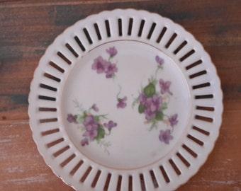 China Ribbon Plate Purple Violet Vintage