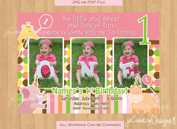 Jungle invitation safari invite girl 1st birthday invitation jungle il570xn filmwisefo