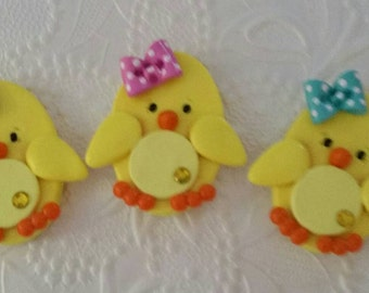 Cute little Easter chick bow center, magnet, pin,gift ( Price for one only)