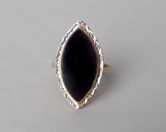 Antique Onyx Ring. Art Deco Navette White & Yellow Gold.