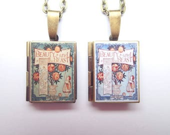 Beauty & the Beast - Set 1 - Resin Covered Locket Book Necklace