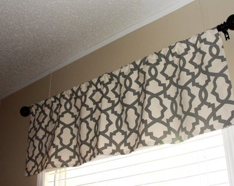 "Premier Prints Sheffield Summerland Grey Valance 50"" wide x 16"" long Lined Or Unlined Gray Natural (Cream)"