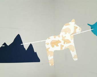 Scandi Dala horse bunting with mountains and leaves -adjustable cotton yarn and cardstock in blue, teal and neutral colours