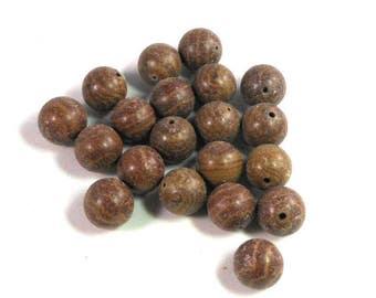 30 Brown Wood Jasper Stone Round Beads, 10mm, Natural Stone, Matte Finish, Striped Brown Beads, Craft Beading, Rustic Beads
