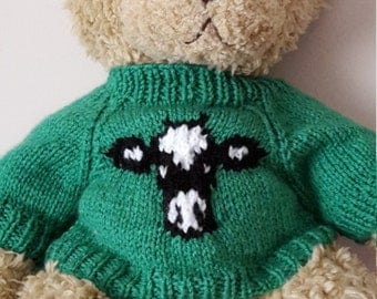 Teddy Bear Sweater - Hand knitted - Bright Green with Cow motif - fits Build a Bear