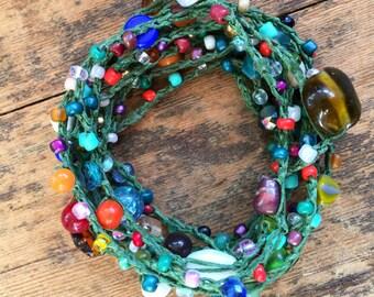 Sprinkles: Versatile crocheted necklace / bracelet / belt / headband
