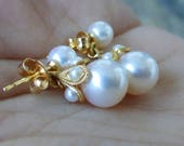 Fine, Heirloom quality 18k Japanese Akoya Pearl Large drop dangle earrings