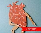 My Heart articulated paper doll funny puppet with handmade valentines greeting card birthday present love valentines day boyfriend gift