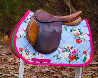MADE TO ORDER - Magenta Pink and Blue Floral  Saddle Pad