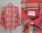 50s Big Mac Cotton Plaid Red Classic Shadow Plaid Logger Flannel Shirt