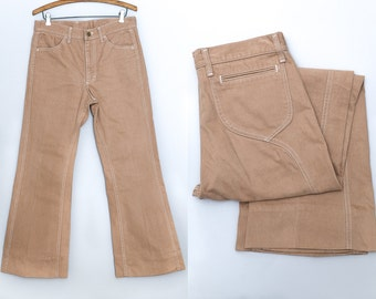 70s LEE Bell Bottoms Bohemian Camel Brown Cotton Flared Bell Bottom Jeans W 32
