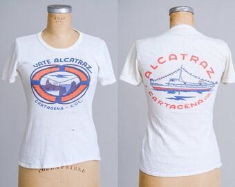 1950s Alcatraz Cartagena White Cotton T Shirt