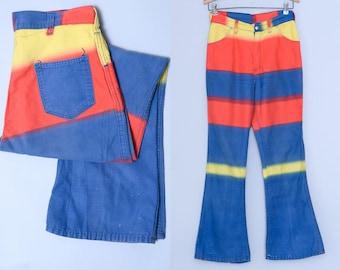 60s Sunburst Tie Dye Ombre Fade Bell Bottom Hippie Jeans 28 x 29
