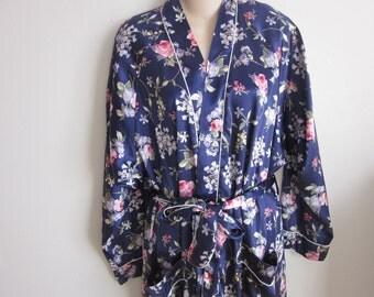Christian Dior robe kimono style wrap floral wrap style M L