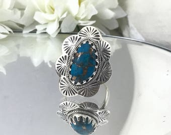 Superb Turquoise Sterling Ring, Blue Stone Copper Turquoise Ring. Size 7.5 Bohemian Rings, Southwest 925 Navajo Style Ring. Ornate Setting