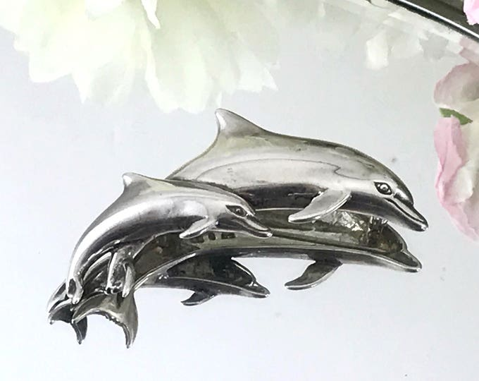 Vintage sterling silver dolphin mother, dolphin baby brooch. Mod Signed stamped Sterling Brooch, Kabana Sterling. initials KBN (Kabana). Sea