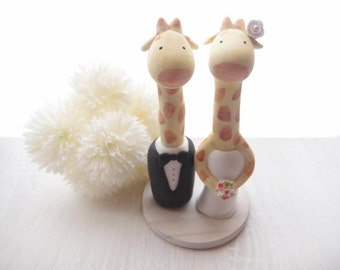 Custom Wedding Cake Toppers - Giraffe with base
