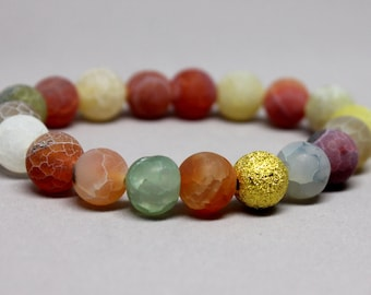 Multi-Color Matte Agate Stretch Bracelet, Stacking Bracelet, Rainbow Bracelet