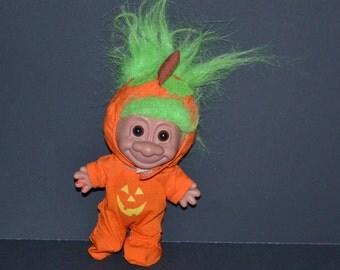 Vintage Troll Doll PUMPKIN TROLL Doll with hat Original 80s 90s troll doll green hair troll Original Clothes Collectible Thanksgiving gift