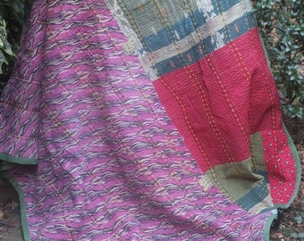 Green kantha Kantha ,Sari throw, Sari Blanket, Kantha Blanket,  Kantha Throw, Indian Quilt, Coverlet, Ralli Quilt,Kantha