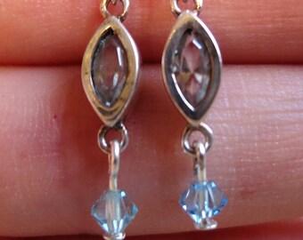Sterling silver blue crystal & stone drop earrings hooks 925 handmade (7115)