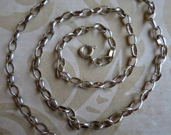 """Lovely vintage 18"""" sterling silver rolo chain necklace spring ring clasp (8085)"""