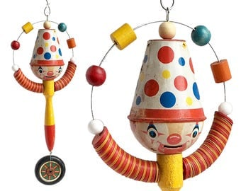folk art clown, juggling clown, clown ornament, assemblage art, handmade original, by Elizabeth Rosen